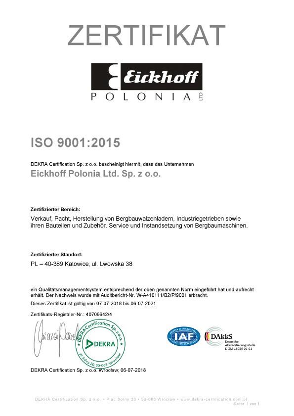 Eickhoff cerytfikat ISO